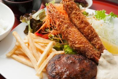 Demi-glace Sauce Hamburg & Big Fried Shrimp Lunch